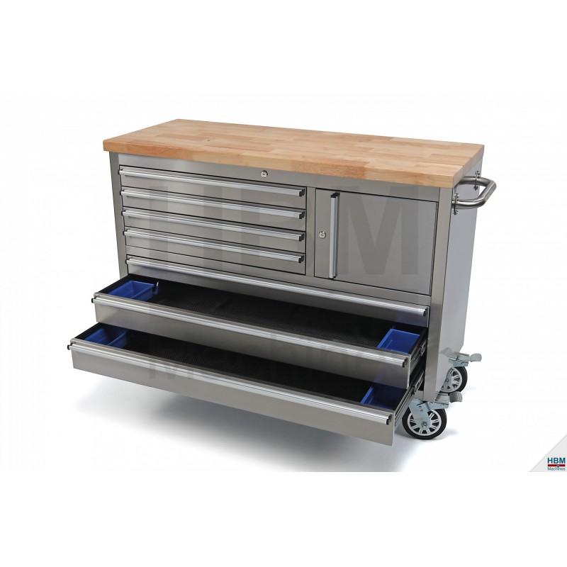 servante etabli inox 122cm plateau bois 3293. Black Bedroom Furniture Sets. Home Design Ideas